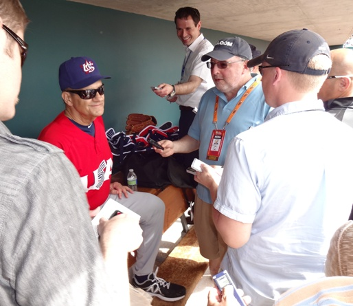 Whether he's talking pitching, World Baseball Classic or instant replay, Joe Torre attracts a crowd wherever he goes.