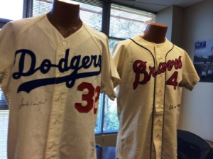 Game-worn jerseys of Sandy Koufax (from the 1965 season) and Hank Aaron (1967).
